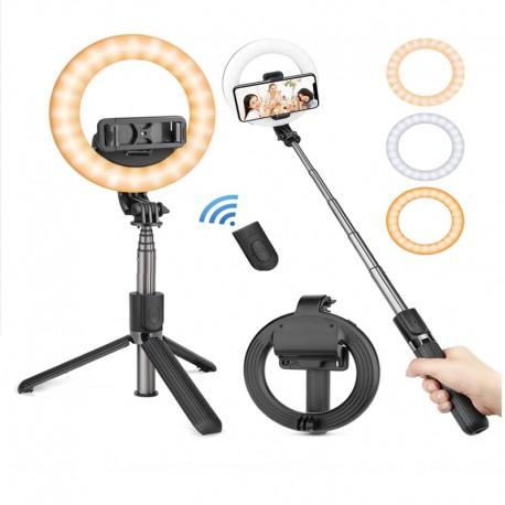 Lampa circulara Make up ,Selfie Stick Bluetooth L07, portabil, LED 5 inch, 90 cm