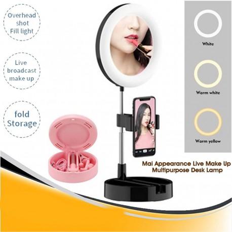 Lampa Makeup cu trepied reglabil, portabil, LED 5 inch, 58 cm, Negru