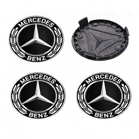 Set 4 capacele roti 75mm,Negru pentru jante aliaj Mercedes