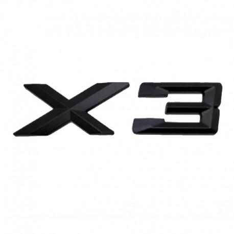 Emblema X3 spate portbagaj BMW, Negru matt