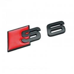 Emblema S6 spate portbagaj Audi,Negru matt